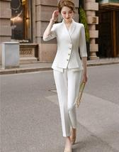 Women's High Quality Solid White Blazer Jacket Business Suit image 6