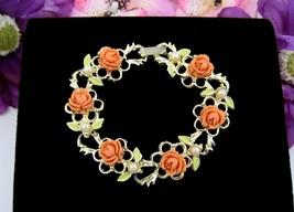 ORANGE ROSES Bracelet Vintage Flowers Faux Pearl Beads Green Enamel Gold... - $12.99
