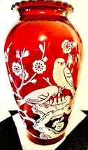 Vintage Tall Ruby Glass Flower Vase Bird In Tree As Is flaw - $14.84