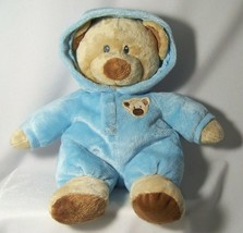 Ty Pluffies Teddy Bear Blue Hoodie Pajamas Love To Baby 2010 Tylux Plush... - $10.87