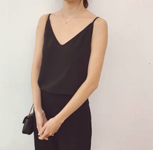 Lady Black V-neck Chiffon Tank Summer Sleeveless Camisole Bridesmaid Chiffon Top image 3