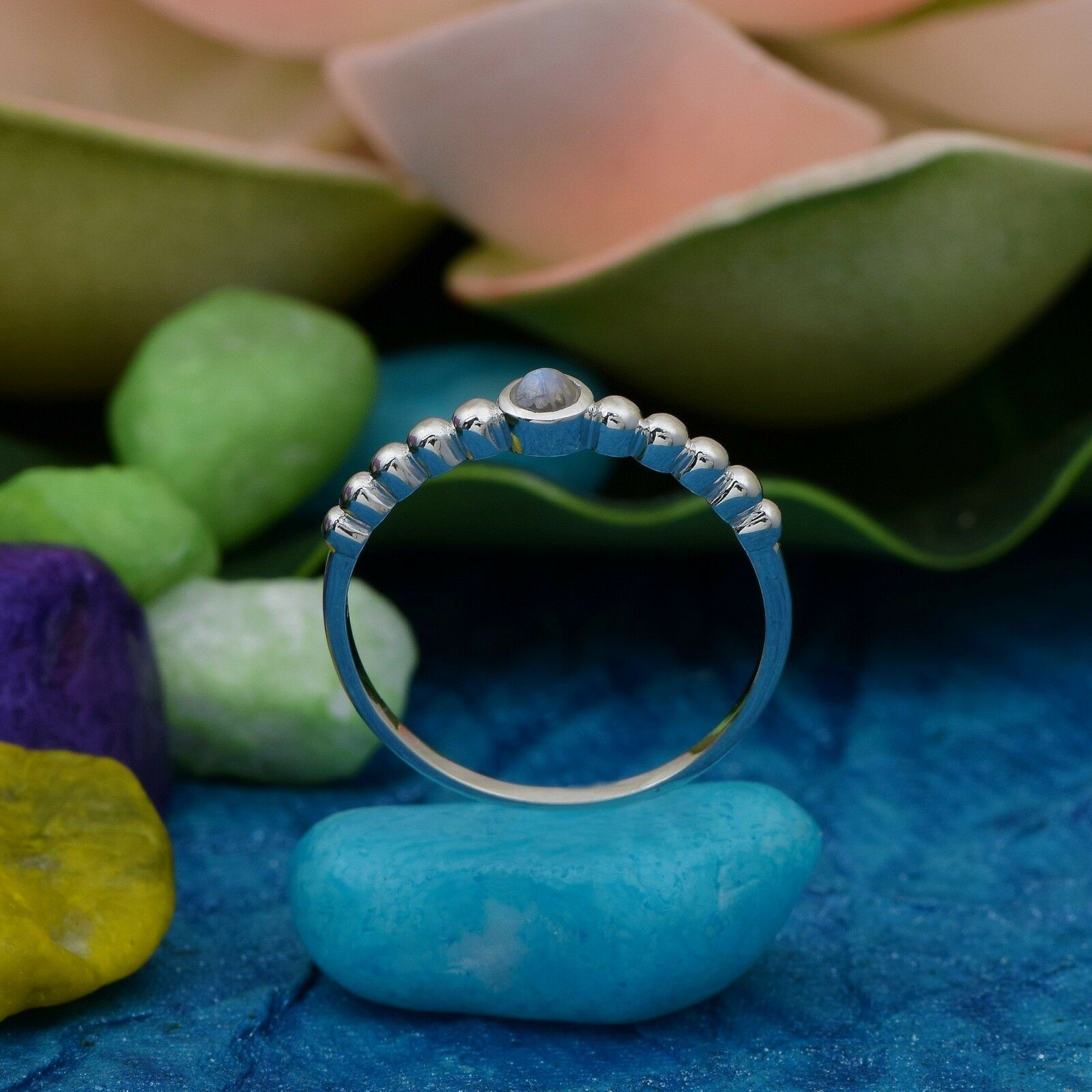 Braided Shank Ring With 925 Sterling Silver Rainbow Moonstone Women's Jewelry