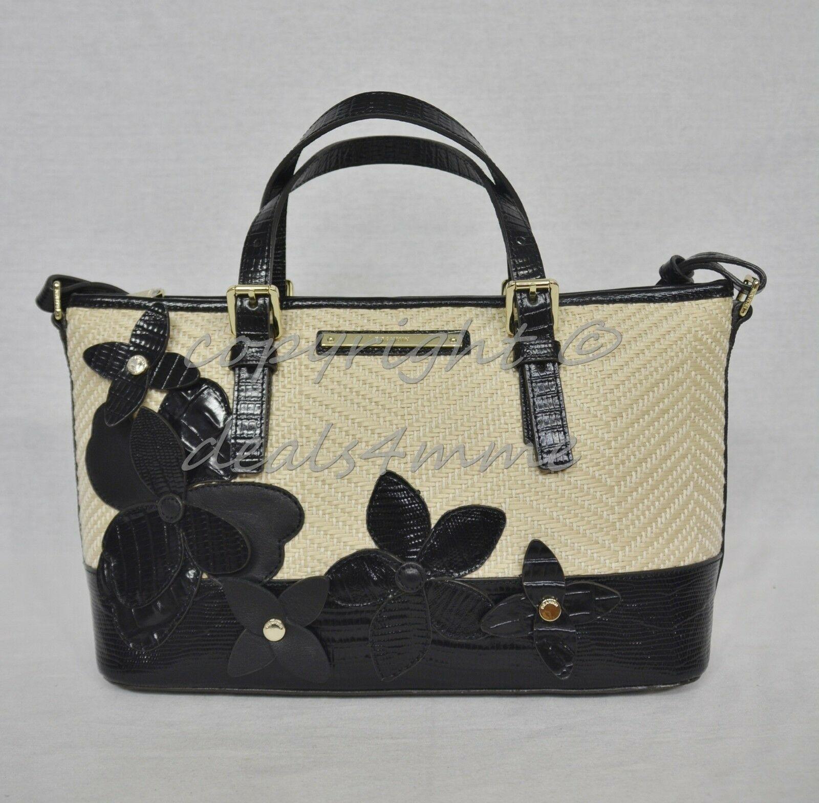 NWT Brahmin Mini Asher Satchel/Shoulder Bag in Black Miramonte-Cream with Black image 4
