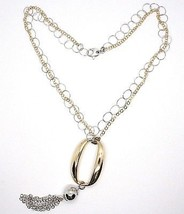 925 Silver Necklace, Double Chain Rolo, white and yellow, oval Fringes, Pendants image 2