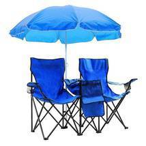 Portable Folding Picnic Double Chair w/Umbrella Table Cooler Beach Campi... - €71,80 EUR