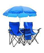 Portable Folding Picnic Double Chair w/Umbrella Table Cooler Beach Campi... - £65.44 GBP