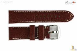 Bandenba 22mm Genuine Brown Textured Leather Panerai White Stitched Watch Band - $32.13