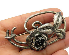 925 Sterling Silver - Vintage Floral Swirled Design Brooch Pin - BP1939 - $66.44