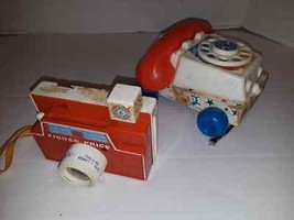 Vintage Fisher Price Camera 112 & Chatterbox Telephone Pull toy - $11.59
