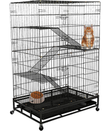 Lucky Tree Cat Cage Large Pet Crate Cats Playpen Sturdy Ladders, Wheels, Removab - $279.98