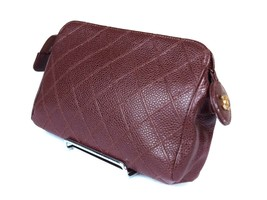Authentic CHANEL Caviar Skin Leather Brown Pouch Bag CP1075 - $189.00