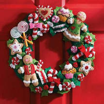 Bucilla Felt Kit, Cookies and Candy, 15x15in embroidery Christmas wreath... - $36.99