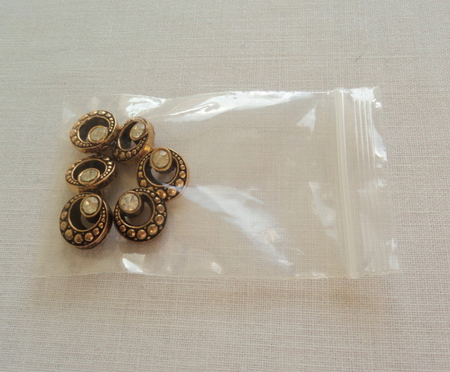 Primary image for 6 Gold Tone Round Buttons Cut Out Circle Design Facetted Crystal-Free Shipping