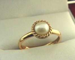 Rose Farbe Sterlingsilber Zierliche Perlen-Ring Größe 8.25 #2 - $14.68