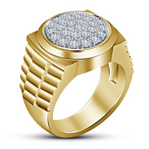 2CTW Diamond Mens Engagement Ring 14K Yellow Gold Finish 925 Sterling Si... - $84.99
