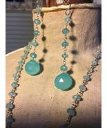 Aquamarine Beaded Pendant & Earrings - $95.00