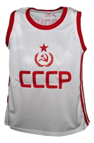 Arvydas Sabonis #11 CCCP Russia Basketball Jersey New Sewn White Any Size