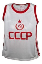 Arvydas Sabonis #11 CCCP Russia Basketball Jersey New Sewn White Any Size image 1