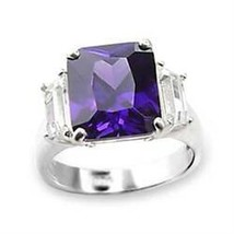 6X057 - 925 Sterling Silver Ring High-Polished Women AAA Grade CZ Amethyst - $19.65