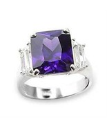 6X057 - 925 Sterling Silver Ring High-Polished Women AAA Grade CZ Amethyst - £14.28 GBP