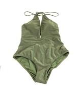 Ted Baker London Women One Piece Swimsuit Halter Deep V Olive Green Size... - $38.69