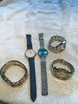 Vintage lot 5 watches bracelet not working parts repair as is abalone womens - $33.65