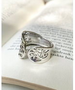Wide band ring for women, open band ring, silver wrap ring, lace open ba... - $20.40