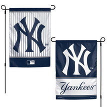 "NEW YORK YANKEES TEAM GARDEN WALL FLAG BANNER 12"" X 18"" 2 SIDED MLB BASE... - $13.92"