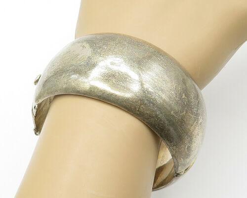 MEXICO 925 Silver - Vintage Large Smooth Round Hinged Bangle Bracelet - B6177