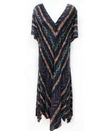 Ralph Lauren Sz 1X Blue Southwestern Viscose Jersey Handkerchief Hem Mid... - $55.10