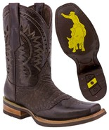 Mens Western Cowboy Boots Brown Alligator Belly Pattern Leather Square T... - £53.24 GBP