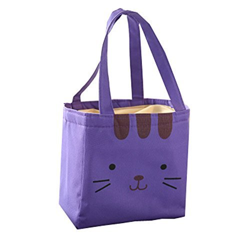 Lunch Boxes Insulated Lunch Bag With Lunch Packed Bag-Purple Kitten