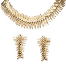 2 Piece Fern Necklace and Earrings Set in Yellow Gold Tone - $10.50