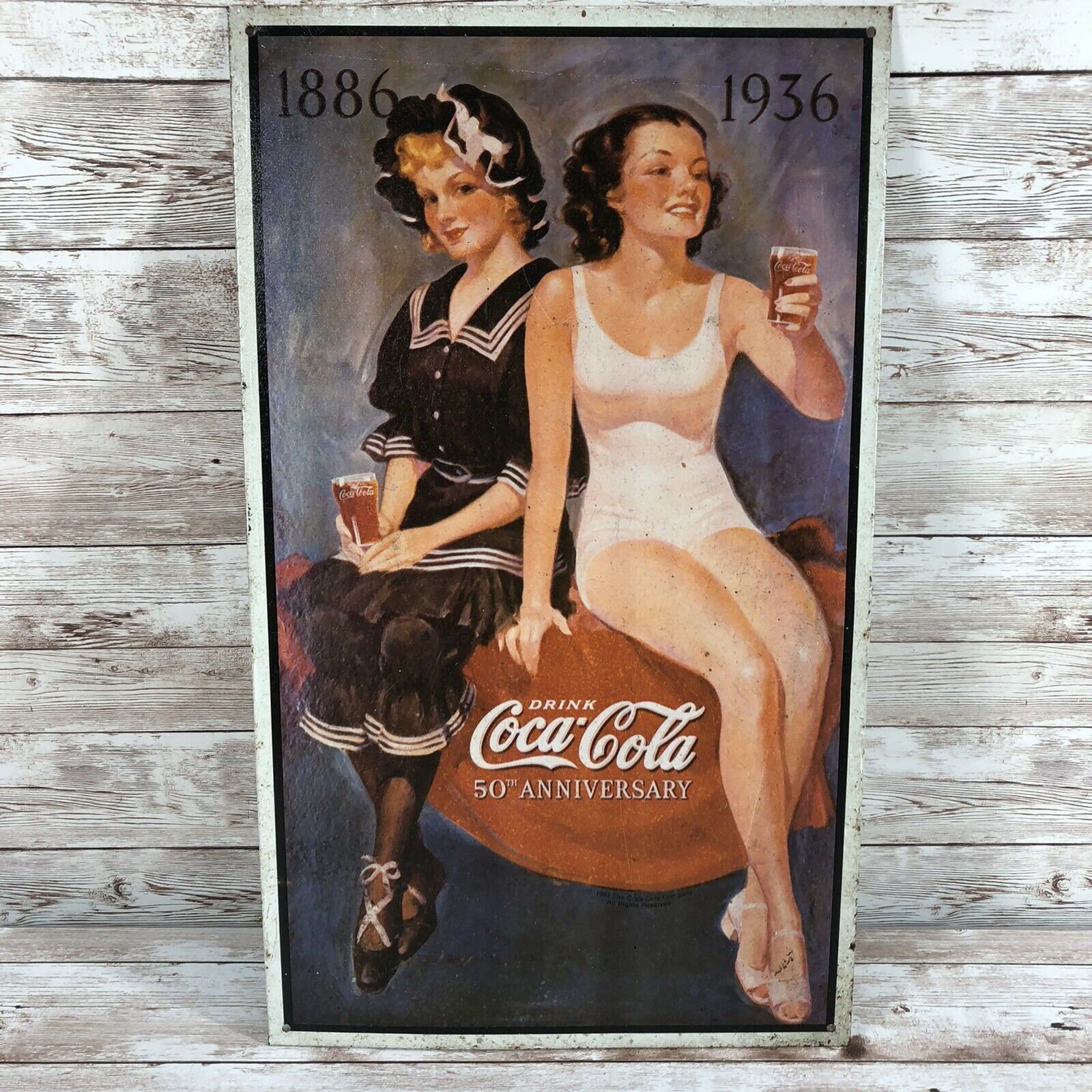 Primary image for 1993 Coca-cola 50th Anniversary Metal Sign Pinup Girls