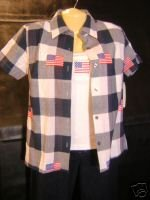 NEW BILL BLASS Shirt Top 4th July Embroidery Flags M