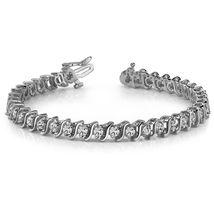 Solid 18k Gold Excellent Cut Sparkly White Diamond Wedding Gift Tennis B... - $1,399.99