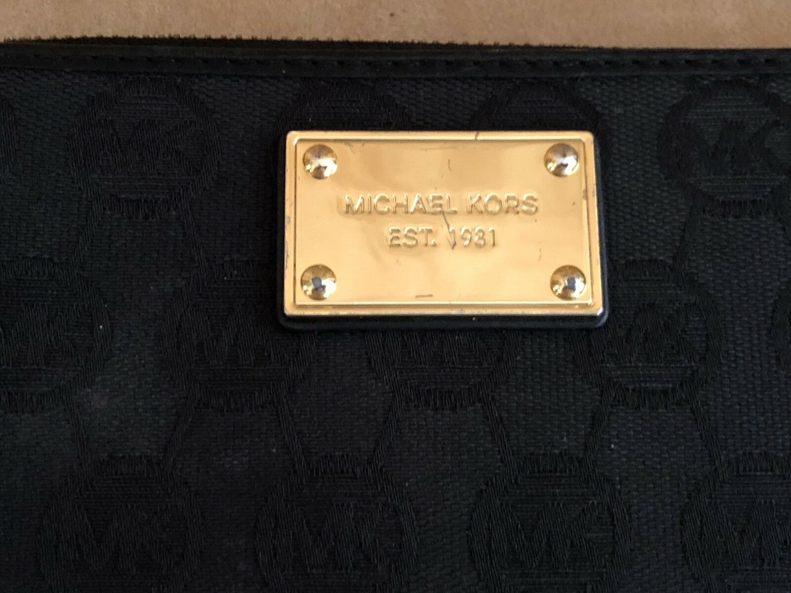 Michael Kors Logo jacquard envelope wallet gold trim bifold womens