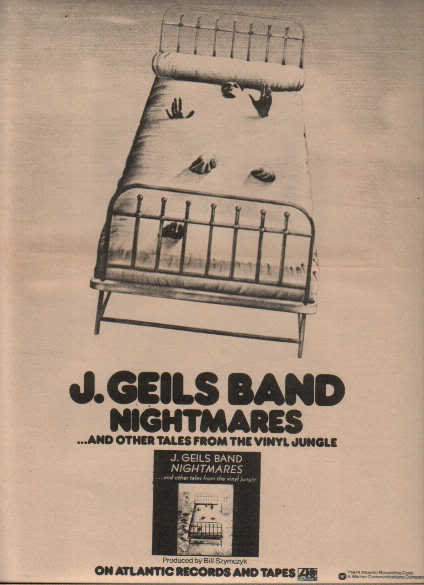 * 1974 J GEILS BAND NIGHTMARES POSTER TYPE AD