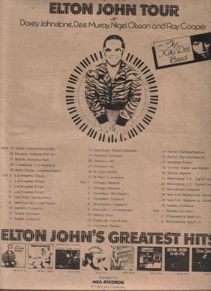* 1974 ELTON JOHN POSTER TYPE TOUR AD WITH DATES