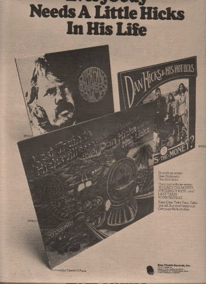 * 1973 DAN HICKS POSTER TYPE PROMO AD