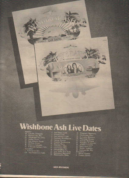 * 1973 WISHBONE ASH POSTER TYPE TOUR AD WITH DATES