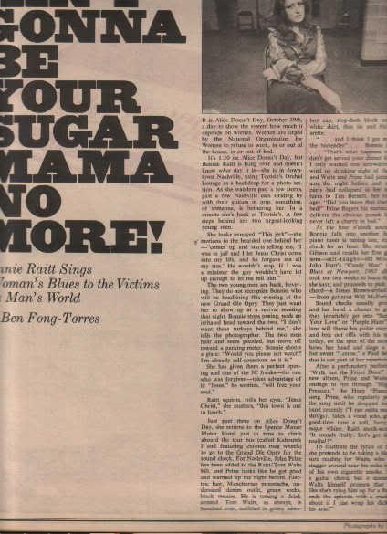 * 1975 BONNIE RAITT ARTICLE AD WRITE UP-8 PAGE