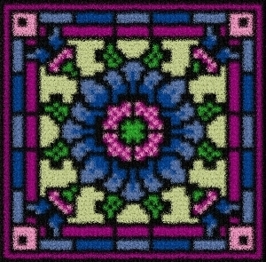 Latch Hook Rug Pattern Chart: CORNFLOWER TILE - EMAIL 2u