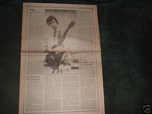 * 1971 THE WHO PETE TOWNSHEND ARTICLE AD WRITE UP