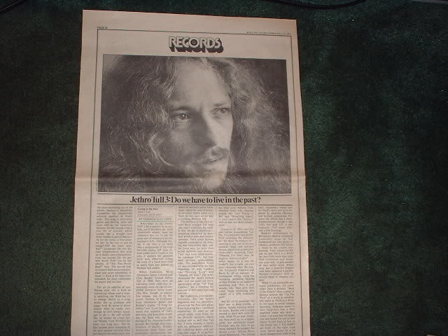 * 1973 JETHRO TULL ARTICLE AD WRITE UP
