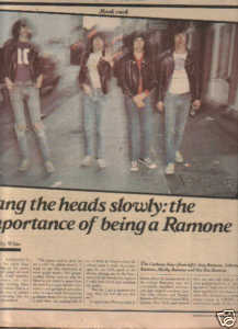 * 1979 RAMONES ARTICLE AD WRITE UP-5 PAGE