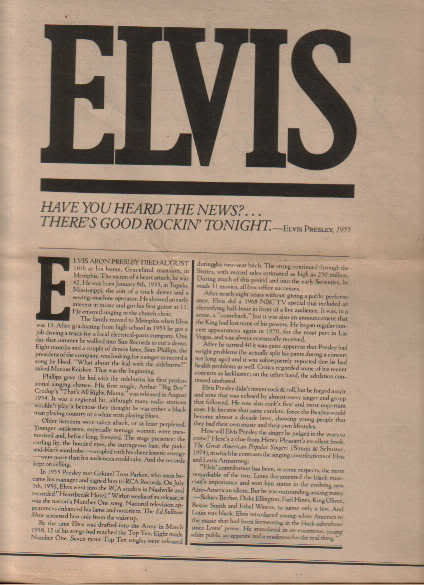 * 1977 ELVIS PRESLEY ARTICLE AD WRITE UP-22 PAGE