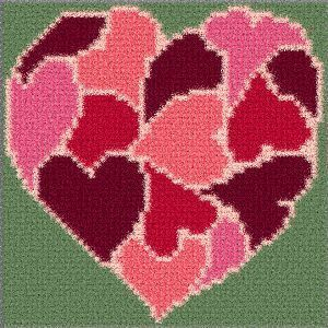 Latch Hook Rug Pattern Chart: HeartofHearts PT - EMAIL2u