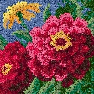 Latch Hook Rug Pattern Chart: Zinnias pillow top - EMAIL2u
