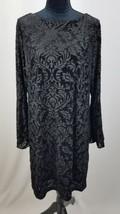 Eci women M velvet shift dress black bell sleeve burnout knee length str... - $37.62